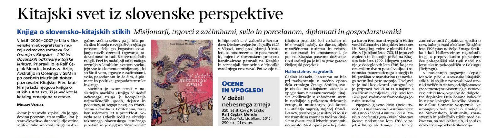 Milan Vogel: Kitajski svet iz slovenske perspektive (Delo, 30. 4. 2013)