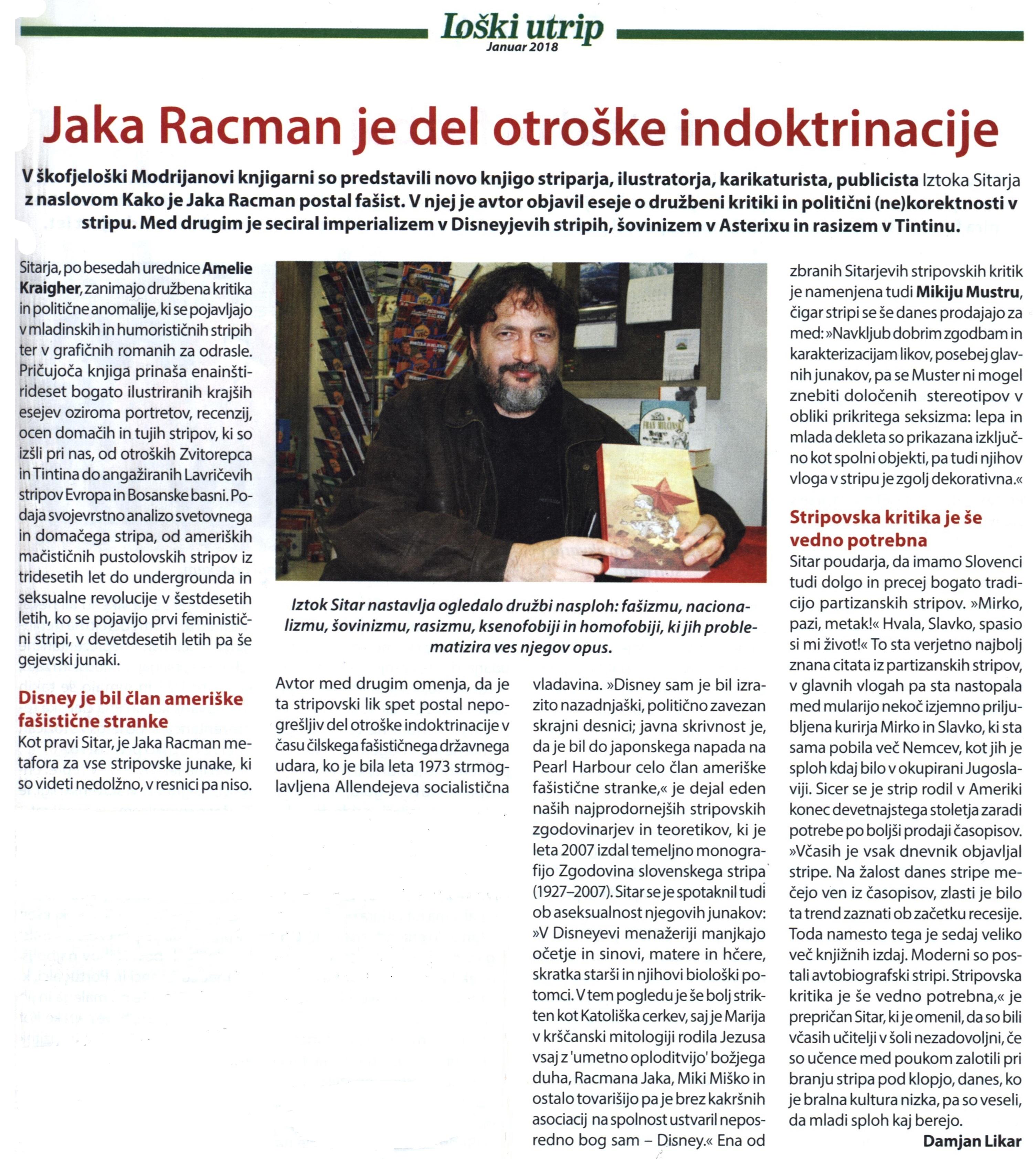 Iztok Sitar, Kako je Jaka Racman postal fašist, Loški utrip